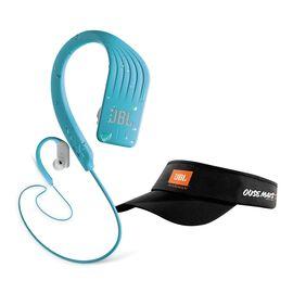JBL Endurance Sprint + Viseira - Teal - Waterproof Wireless In-Ear Sport Headphones - Hero